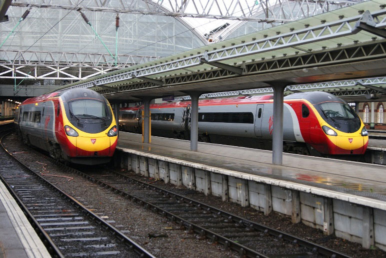 virgin pendolinos at Manchester by Nick Hair
