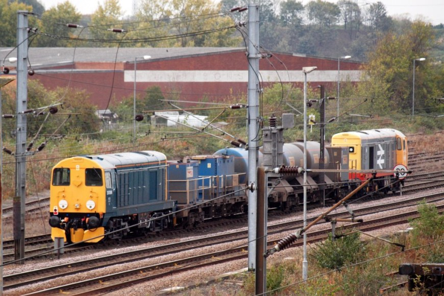 Class 20s, hired in by DB Schenker, working RHTTs in the York area, Autumn 2011. Copyright Eliot Anderson.