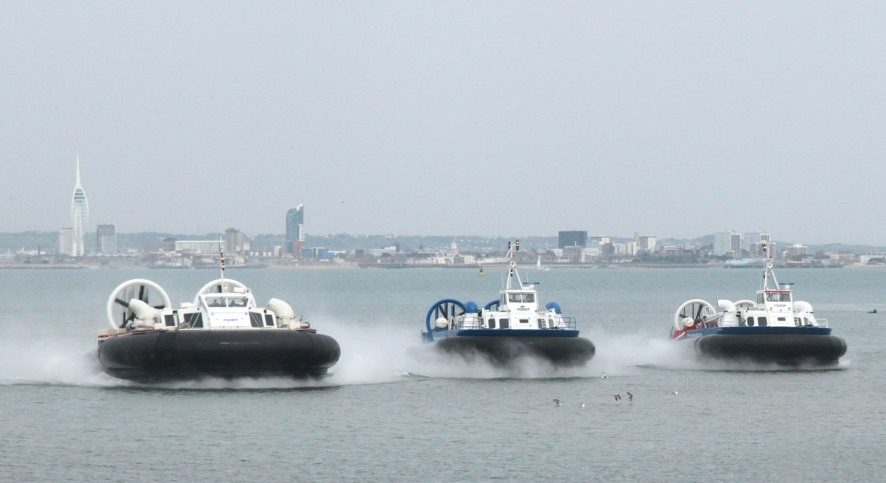 6 hovercraft line up off Ryde Phil Marsh