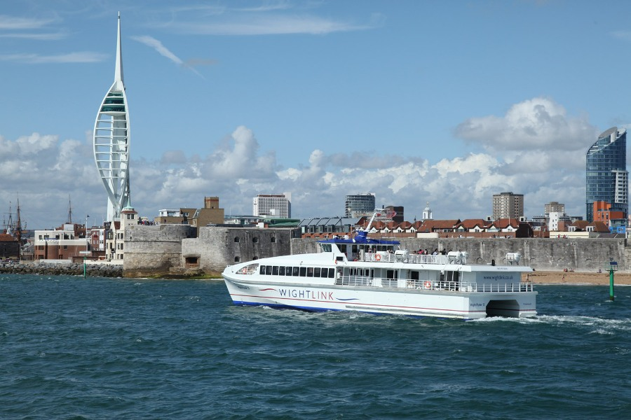 8 wightlink fastcat at portsmouth by phil marsh