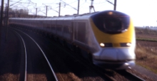 eurostars passing at 375mph from the drivers seat in france