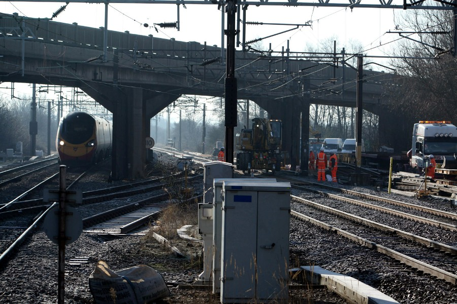train passes bletchley track repairs feb 4 by phil marsh