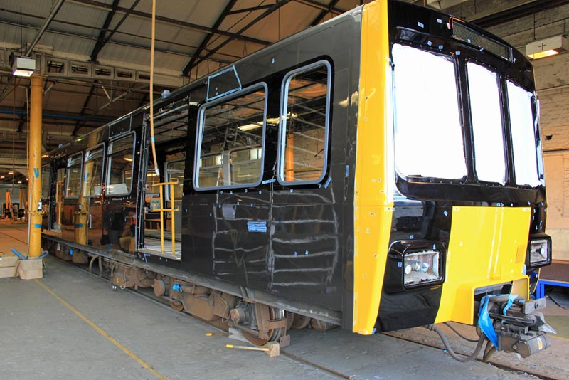 Metrocar No. 4041 in the process of being repainted