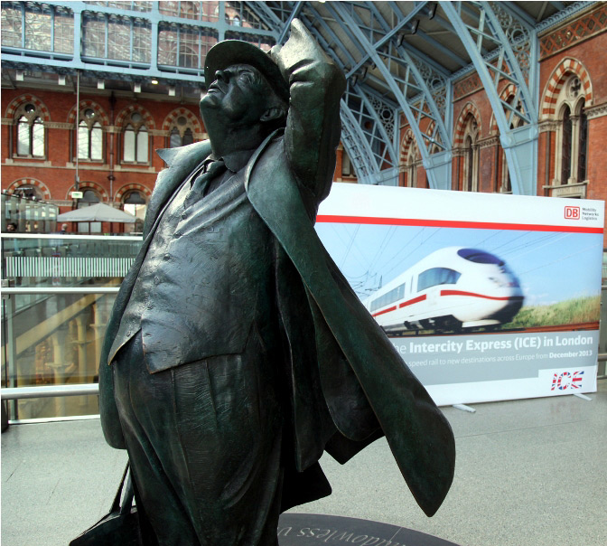 Betjeman st pancras and german trains by Phil Marsh