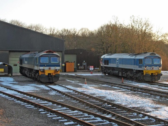59104 and 59002 outside Merehead Quarry depot. Paul Bickerdyke