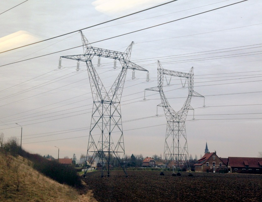 edf electricity pylons near Lille phl marsh