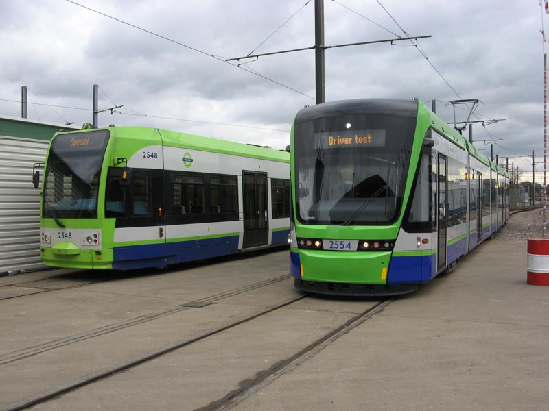 A comparison of existing Bombardier CR4000 No. 2548 and new Stadler Variobahn No. 2554. Paul Bickerdyke.