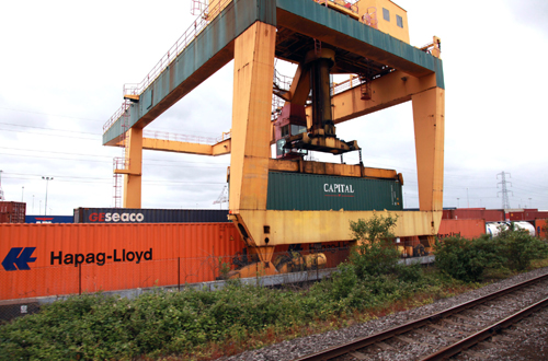 Container traffic terminal at Southampton by Phil Marsh