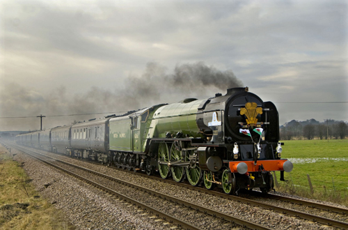 Tornado on Royal train on 190209 at Church Fenton by Geoff Griffiths