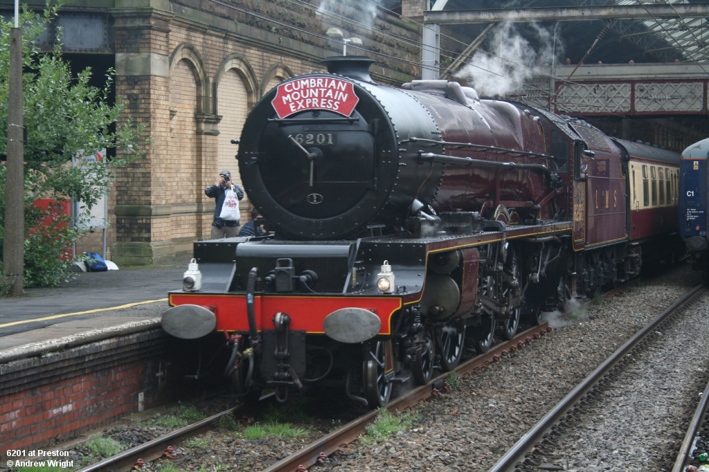 6201 Princess Elizabeth at Preston on the Cumbrian Express