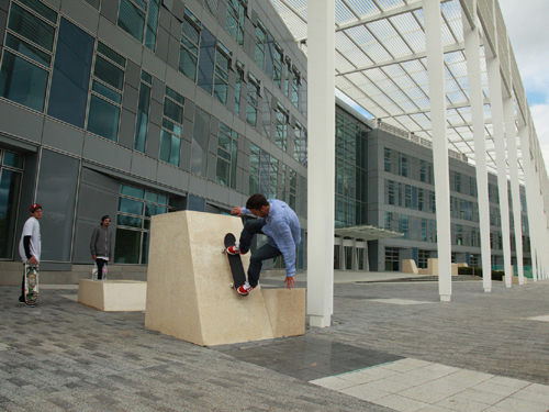 Network Rail HQ Milton Keynes. Skateboarder by Phil Marsh