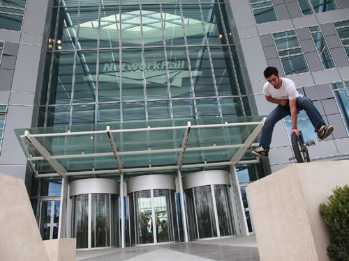 Network Rail HQ. Unicyclist by Phil Marsh