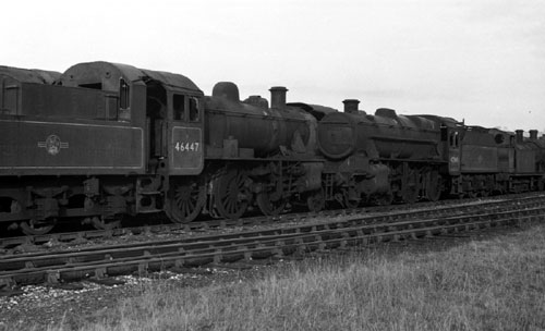 1971 46447 at Barry scrapyard with 42968 by Phil Marsh