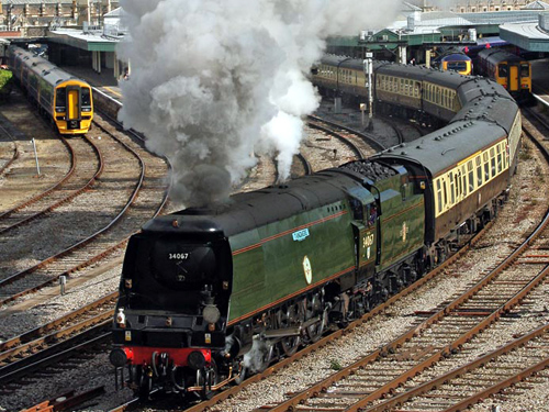 No. 34067 Tangmere leaves Bristol
