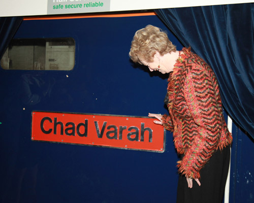 Felicity Varah Harding admires the nameplate on 57302. By Phil Marsh