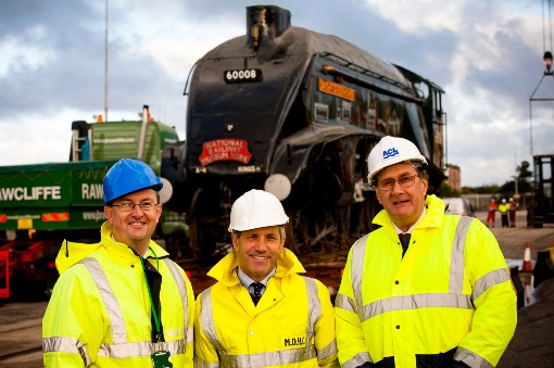 The team l-r: Gary Hodgson (Peel Ports) Steve Davies (NRM) Ian Higby (ACL) at Liverpool docks courtesy of Natonal Railway Museum