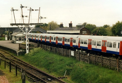 Met line stock passing through Quainton in 1990 courtesy of Phil Marsh