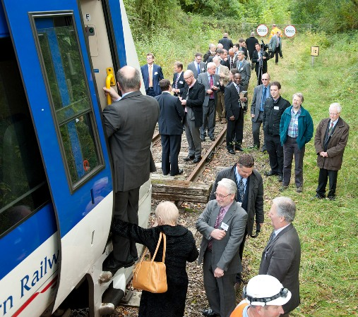 Guests leave the special train at Claydon courtesy of EWRL consortium