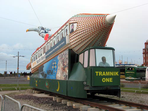 Former illuminated Rocket Tram No.732 on display at Gynn roundabout courtesy of Paul Bickerdyke