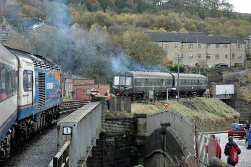 Power Car 43082 at Keighley as the KWVR's Class 108 DMU heads away courtesy of Paul Bickerdyke