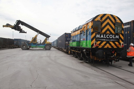 Loading a Container Train courtesy of Phil Marsh