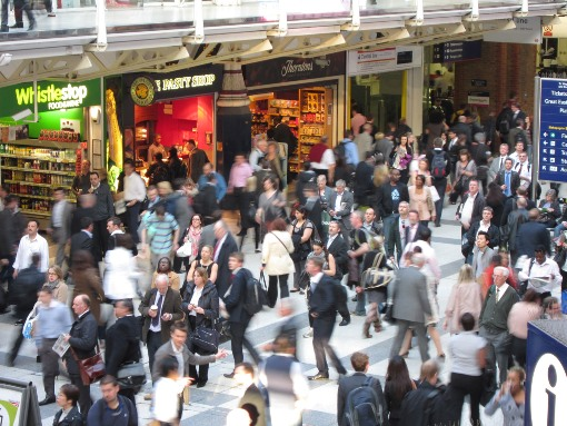 Crowds at Liverpool Street courtesy of Phil Marsh
