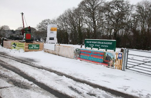 iowsr havenstreet main entrance in the snow courtesy of Phil Marsh