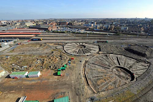 Excavations uncovered the foundations of three former roundhouses by Network Rail courtesy of Paul Bickerdyke