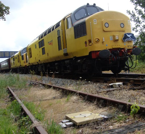 ERTMS fitted diesel with a balise in the foreground courtesy of Phil Marsh