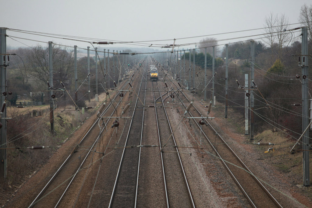 Overhead wires looking north from Hitchin by Phil Marsh