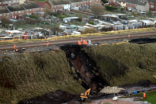 embankment landslip by Network Rail