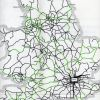 Beeching map green lines proosed for closure. Courtesy of Phil Marsh
