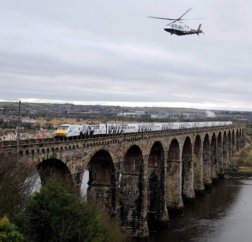 Skyfall Train crosses Royal Border Bridge. Courtesy of East Coast Trains