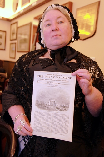 8 W175 launch queen victoria with 1838 railway opening newspaper which will be reproduced in the book . Courtesy of Phil Marsh