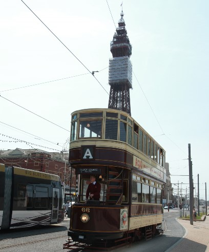 Blackpool tram and tower by Phil Marsh