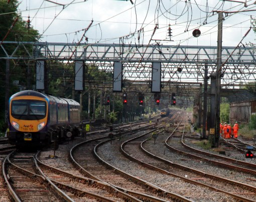 West coast main line red lights and track workers by Phil Marsh
