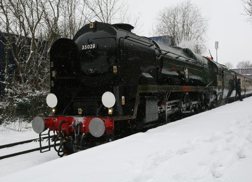 35028 clan line in the snow. Courtes of Peter Starks
