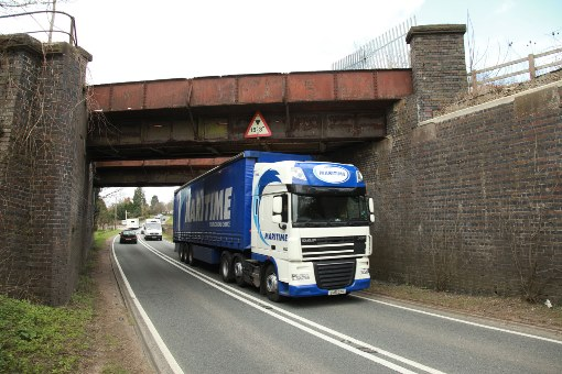 Lorry under the HS2 bridge at Finmere by Phil Marsh