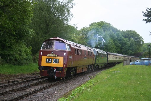 Western Campaigner and 'Warship' Onslaught pull into Crowcombe Heathfield, by Peter Nicholson