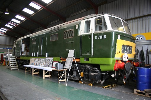'Hymek' No. D7018 is receiving attention in the D&EPG workshps at Williton, by Peter Nicholson