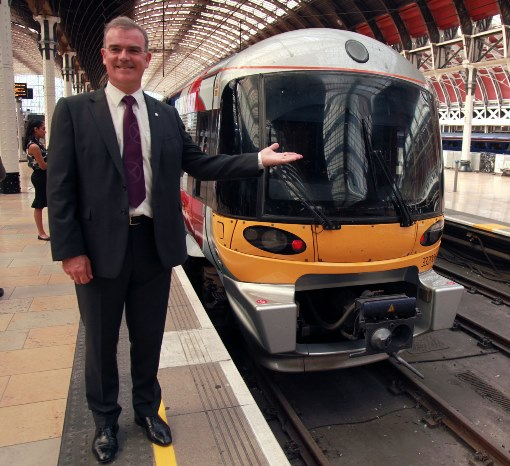 Keith Greenfield  hex MD at Paddington with an upgraded HEX train by Phil Marsh