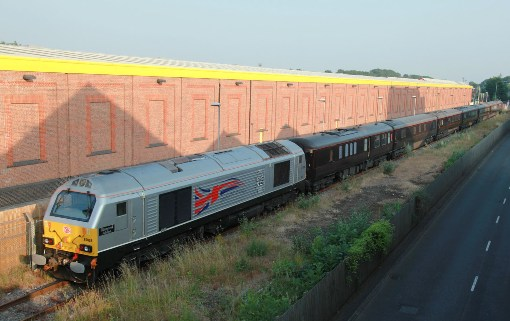 Royal train leaving wolverton past the Dulux buildings by Phil Marsh