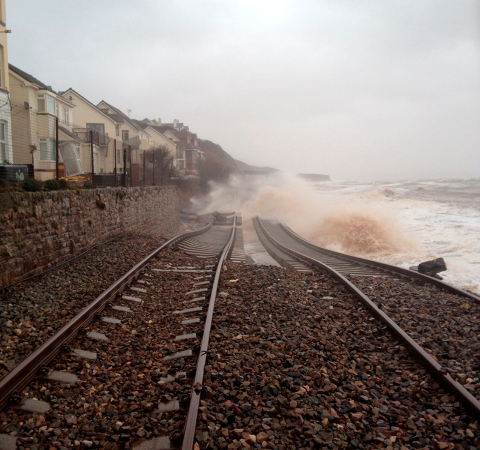 Dawlish in the storm by Network Rail