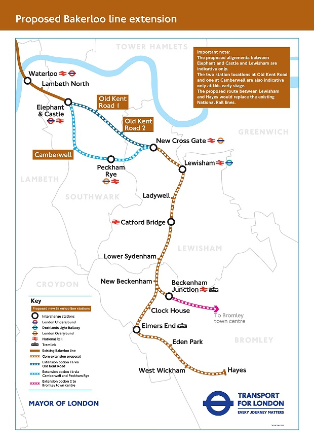 TfL consultation map bakerloo extension