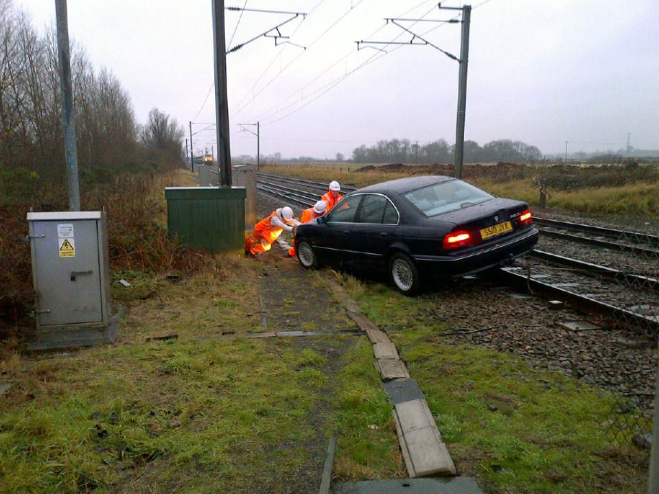 Car on the line