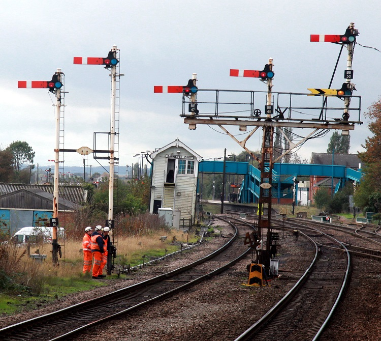 5 Semaphore signals and staff at  Barnetby by Phil Marsh