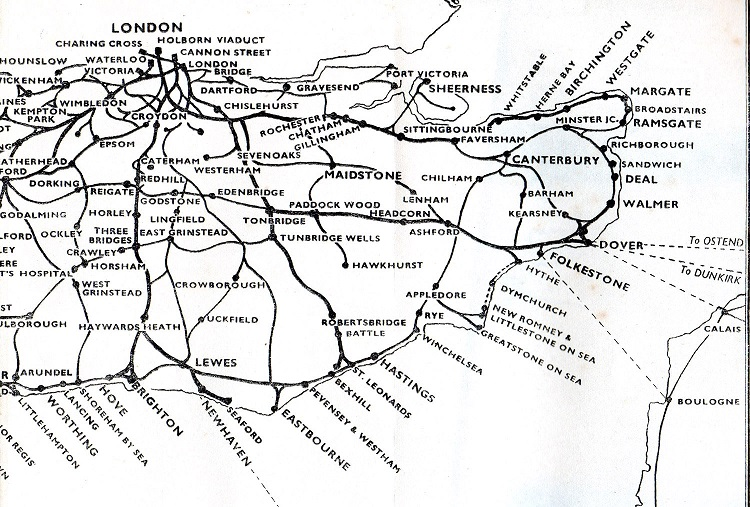 1940 southern railway route map Phil Marsh collection