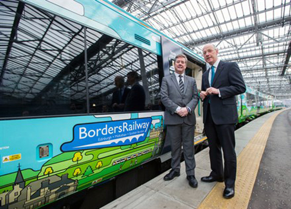 1 Borders Line train unveiled by Transport scotland with Transport Seccretary Keith Brown
