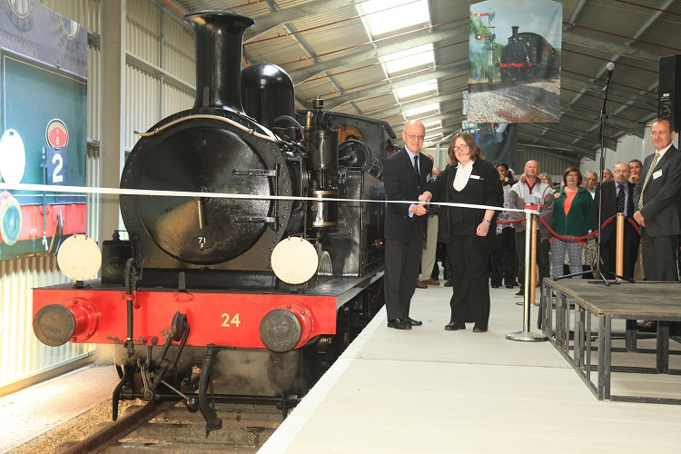 2 Train Story official opening by Paul Hudson HLF SE UK Chairman Kathryn Lockyer IOWSR volunteer by Phil Marsh