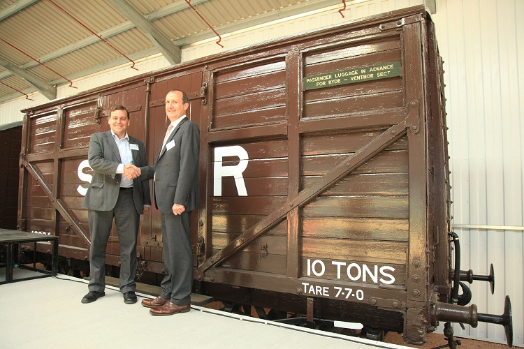 4  NRM Curator Andrew McClean handing over LBSCR Cattle wagon 46924 to Steve Oates IOWSR Chairman by Phil Marsh